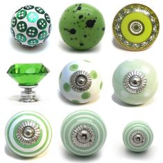 Large Selection Of Green Ceramic Door Knobs Handle Cabinet