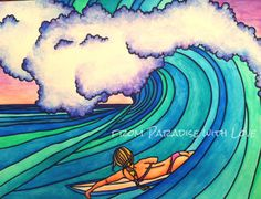 Surfer riding wave - Surf Art - Surfer Girl -North Shore Oahu Hawaii - Ocean - Turquoise Blue Green via Etsy