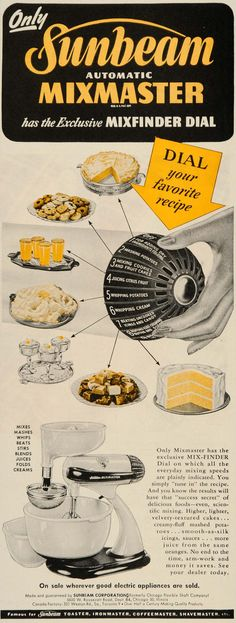 1946 Ad Sunbeam Automatic Mixmaster Mixfinder Dial - ORIGINAL ADVERTISING SEP3