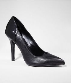 Express Womens Mixed Texture Pointed Toe Leather Pump Black, 8