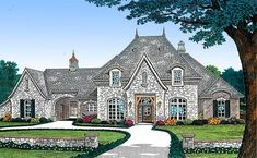 French Country Home Plan with Separate Guest Suite and Porte Cochere Porte Cochere, French Country House Plans, French Country Bedrooms, Courtyard House Plans, Facade House, Luxury House Plans, Best House Plans, Huge Bedrooms, Cottage Style Homes