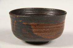 JAPANESE POTTERY BOWL - Raku Style Art Pottery Tea Bowl by Toshiko Takaezu (HI/NY/NJ/Japan, 1922-2011), in brown glazes.