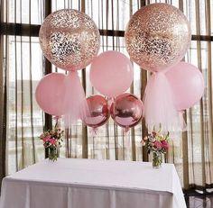 Globos gigantes metalizados | Tarjetas Imprimibles Girl Christening Decorations, Birthday Decorations, Christening Balloons, Baby Girl Christening, Confetti Balloons, Glitter Balloons, Ballons With Tulle, Giant Balloons, Mom Birthday