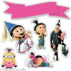 Despicable Me Free Printable Cake Toppers. Despicable Me Cake, Agnes Despicable Me, Unicorn Themed Birthday Party, Birthday Party Themes, Art Birthday, Birthday Message For Mother, Minions 4, Girl Minion, Birthday Cards For Boyfriend
