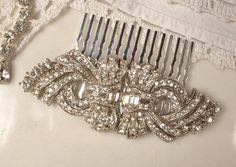 1920s Art Deco TRUE Vintage Rhinestone Bridal Hair Comb, Pave Crystal Encrusted Heirloom Brooch Haircomb