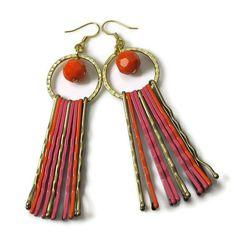 Modern Earrings, Upcycled Jewelry, Orange Pink. $14.00, via Etsy.