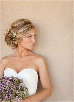 Elegant Wedding Updo and like the flowers