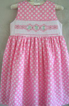 Smocked Monogram Dress Pink Polka Dot Back Wrap