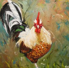 Rooster 461 10x10inch Print of oil painting by Roz