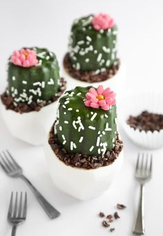 Mini Potted Cactus Cakes Recipe - Saving this because it includes a recipe for 6 chocolate cupcakes with coffee in them!