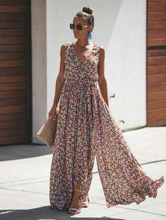 f9cd16443cfd Sleeveless Flowers Printed Bohemian Maxi Dress – stylinbo