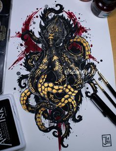 Body Art Tattoos, Sleeve Tattoos, Cool Tattoos, Dark Art Drawings, Animal Drawings, Tattoo Sketches, Art Sketches, Octopus Art, Best Tattoos For Women