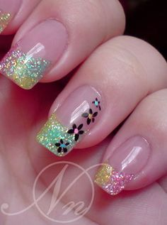 glitter gel nails | ... & Gel Nail Art Gallery pictures - Crushed Shell - Glitter Nails
