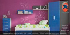 #Dormitorio #Juvenil en #Sevilla. #Muebles y #Decoración La Ponderosa en San Juan de Aznalfarache, #Andalucía #Rosa y #Azul