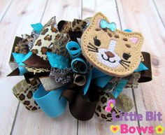 Leopard Brown and Turquoise Leopard Feltie by LittleBitBows