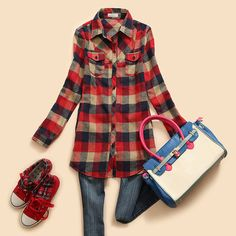 Womens Button Down Flannel Shirt Plaids Checks Shirts Casual Lapel Tops Blouses | eBay
