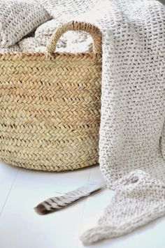 woven baskets and blankets. Neutral, Hygge Home, Textiles, Wicker Baskets, Woven Baskets, Basket Weaving, Decoration, Sweet Home, Pure Products