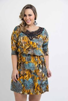 Liló Fashion: Vestido Plus Size Blusê Silk Azul R$159,00