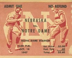 $29.99 Drink coasters made from authentic vintage football tickets like this 1947 Notre Dame vs. Nebraska football ticket. http://www.shop.47straightposters.com/Notre-Dame-Football-Ticket-Coasters-1947-vs-Nebraska-ND-Coasters47.htm Best football coasters in America!