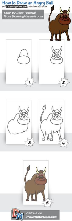 How to Draw an Angry Bull Step-by-Step https://play.google.com/store/apps/details?id=com.aku.drawissimo https://itunes.apple.com/app/id1098056720