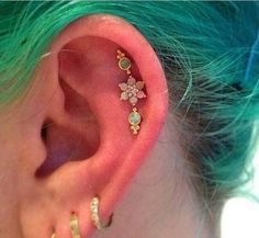 Opal Flower Triple Cartilage Piercing Jewelry Ideas at MyBodiArt