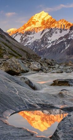 Mt Cook reflects in a small pool of water on a large textured boulder by the side of the Hooker River. Mt Cook National Park, NZ by echkbet Landscape Photography, Nature Photography, Travel Photography, Beautiful World, Beautiful Places, Bergen, Nature Scenes, Beautiful Landscapes, Wonders Of The World