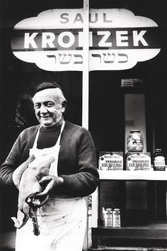 Saul Kronzek outside his shop in Highland Park, 1987 Saul and his family fled anti-Semitism in Poland and came to Pittsburgh in 1927. Though he had studied to be a rabbi, Saul took a job as an apprentice butcher to help support the family.