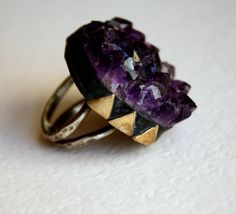 Black and Gold- Sterling silver and brass Amethyst Geode Ring