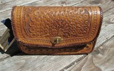 Vintage 1970s Brown Tooled Leather handbag/ Purse by DrowningFlame, $35.00