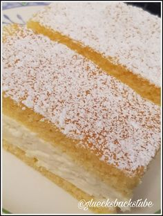 """In terms of taste, my lemon-mascarpone slices are reminiscent of the """"Kinder Paradiso Cake Filling Recipes, Frosting Recipes, Dessert Recipes, Lemon Sheet Cake Recipe, Sheet Cake Recipes, 3 Ingredient Desserts, Lemon Layer Cakes, Individual Cakes, Gateaux Cake"""