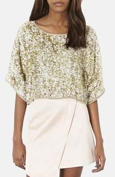 Topshop Draped Sequin Crop Top | Nordstrom JUST ORDERED THIS BEAUTY!!!