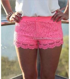 shorts clothes girly lace lace shorts pink pink lace shorts cute crochet fashion hot pink scalloped laced neon pretty summer shirt