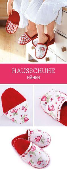 Nähanleitung für Hausschuhe aus Stoffresten, Recycling von Stoff / diy sewing tutorial for comfy slippers via DaWanda.com