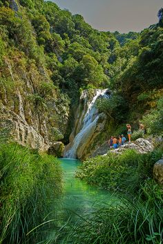 Natural swimming pools and waterfalls of Polylimnio, Greece (by alexandros9).