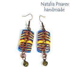 New Polymer Clay Earrings Multicolor Striped Earrings by NataPi