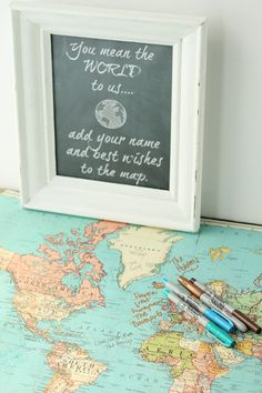 A travel map is such a unique way for wedding guests to sign in and write their best wishes