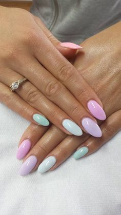 Pastel almond shaped nails