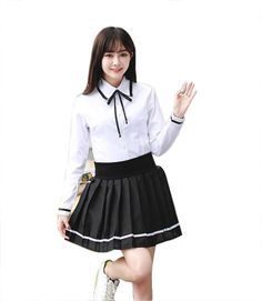 SE&SO Anime Girls Japanese Academic School Uniform Sets (XXL, long sleeve). Package:1X tops+1X skirt,color:white,material:cotton blends. Womens japanese style academic high school uniform sets. The size is Asian Size,would be smaller than USA size,please recheck the size before order. Asian Size:XXL:top length:61.5cm,shoulder:41cm,bust:101cm,skirt length:40cm,waist:92cm;. It's suitable for casual,formal,cosplay,stage shows,etc.
