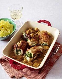 Puten-Rouladen mit Spinat-Frischkäse-Füllung