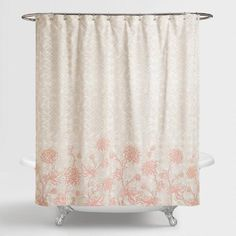 One of my favorite discoveries at WorldMarket.com: Gray and Blush Floral Fiona Shower Curtain