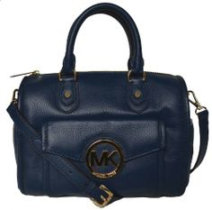 1292bec67034e Michael Kors Navy Leather Margo MD Shoulder Satchel Tote Handbag  Handbags   Amazon.com