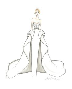 Get an exclusive first look at the newest wedding dresses from your favorite bridal designers. Here, 51 of our favorite dress designers shared a sketch from their upcoming Spring 2019 Bridal Fashion Week collections. Fashion Drawing Tutorial, Fashion Figure Drawing, Fashion Drawing Dresses, Fashion Illustration Dresses, Dress Design Drawing, Dress Design Sketches, Fashion Design Drawings, Fashion Sketches, Wedding Dress Drawings