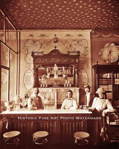 SODA FOUNTAIN ICE CREAM PARLOR VINTAGE PHOTO OLD WEST 8x10 #21564