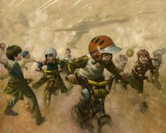 'BMX Wings' A Limited edition giclee on canvas board by artist Craig Davidson.  From the Star Wars inspired collection; 'In a Backyard Far Far Away'  Available at Wyecliffe Gallery:  http://wyecliffe.com/collections/craig-davison-art/products/bmx-wings-davison-craig