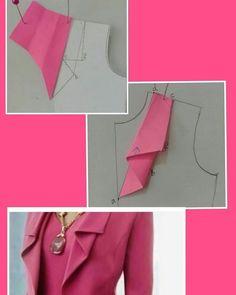 Costura e ModelalModelalgemp i gem Fashion Sewing, Diy Fashion, Ideias Fashion, Collar Pattern, Jacket Pattern, Dress Sewing Patterns, Clothing Patterns, Skirt Patterns, Sewing Collars