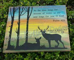 As the Deer Longs for Streams of Water - Psalm 42:1 - Deer in woods Sunrise - Deer Head Pallet Sign - Antlers- Sunrise - Scripture Art