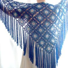Blue Shawl Lace Shawl Bridal Shawl Wedding Shawl Crochet