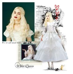 """""""27/50-White Queen-(form Alice in Wonderland)"""" by psiche-olga ❤ liked on Polyvore featuring art, white queen, alice in wonderland and anne hathaway"""