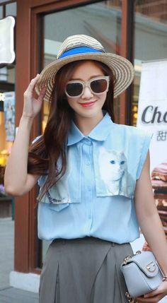 Fashiontroy Hipster & indie sleeveless shirt collar blue cat printed chiffon shirt