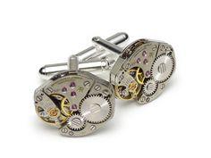 Steampunk cufflinks vintage watch movements retro 1950 wedding anniversary grooms silver cuff links men jewelry